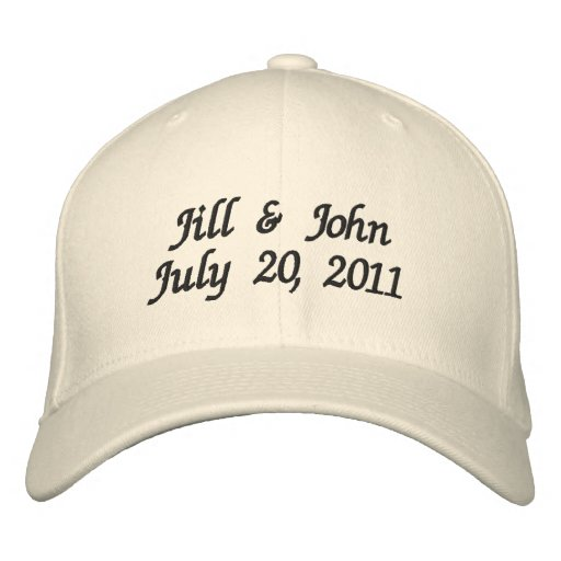 Wedding Date Couple Names Announcement Ivory Hat Embroidered Hat
