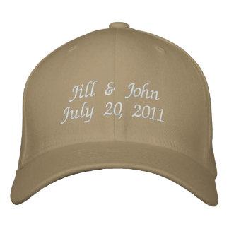 Wedding Date Couple Names Announcement Khaki Hat Baseball Cap