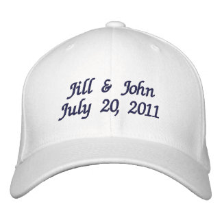 Wedding Date Couple Names Announcement Navy Hat Embroidered Hat