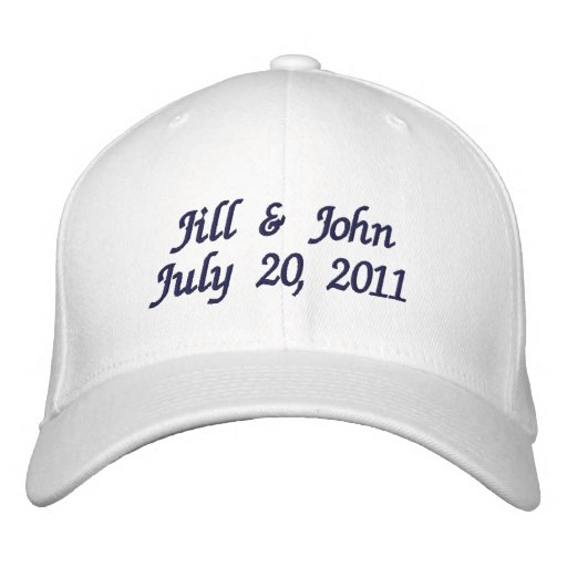 Wedding Date Couple Names Announcement Navy Hat Embroidered Baseball Cap