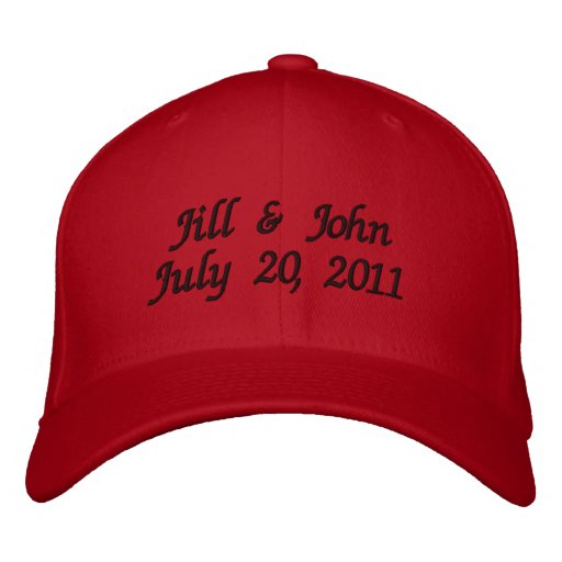 Wedding Date Couple Names Announcement Red Hat Baseball Cap