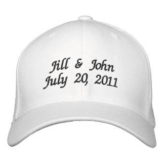 Wedding Date Couple Names Announcement White Hat Embroidered Hat