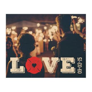 Wedding Date Fireman Love Firefighter Heart Logo Wood Canvas
