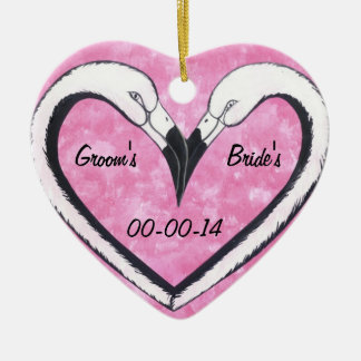 wedding date flamingo Kiss heart Christmas Ornament