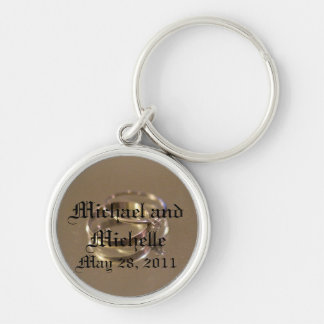 wedding date Silver-Colored round key ring