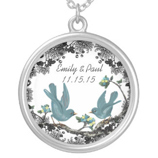 Wedding Date Vintage Birds Anniversary Necklace