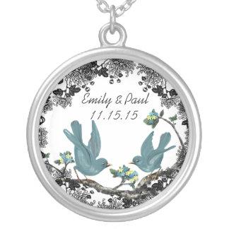 Wedding Date Vintage Birds Anniversary Necklace