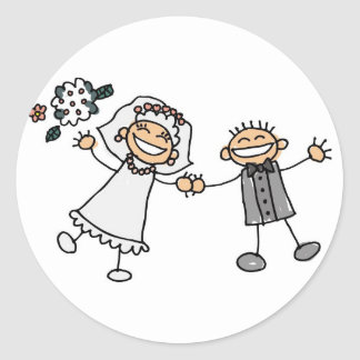 Wedding Day Bride Groom Smiling Happy Couple Round Sticker