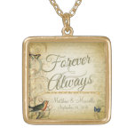 Wedding Day Forever & Always Personalised Personalised Necklace