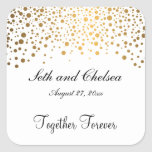 Wedding Day Gold Dots   Personalise Square Sticker