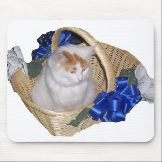 """WEDDING DAY KITTEN IN A BASKET"" MOUSE PAD"
