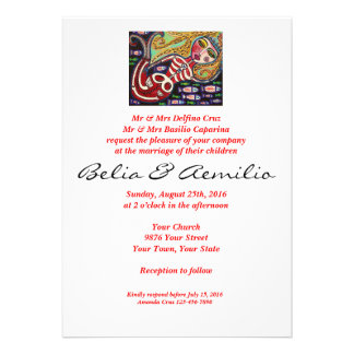 Wedding - Day Of The Dead - Red Skeleton Mermaid Invitation