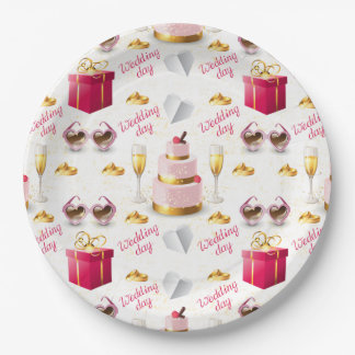 Wedding Day Pattern 9 Inch Paper Plate
