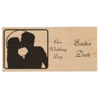 Wedding Day Pictures Real wood Flash Drive