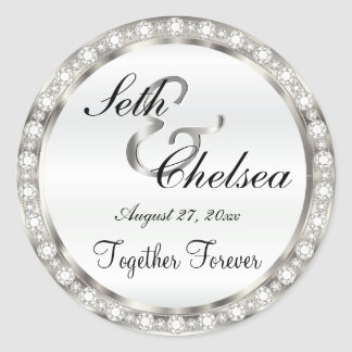 Wedding Day Silver and White Satin & Faux Diamonds Classic Round Sticker