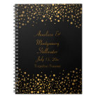 Wedding Day Trendy Gold Dots on Black Notebook