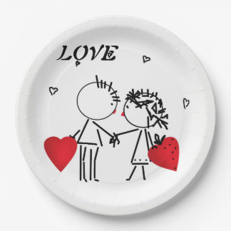 Wedding , day Valenine , love Paper Plate