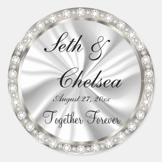 Wedding Day White Satin & Faux Diamonds Classic