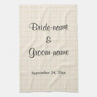 Wedding Design in Beige Check with Black Text. Tea Towel