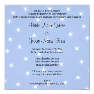 Wedding Design in Light Blue with White Stars. 13 Cm X 13 Cm Square Invitation Card