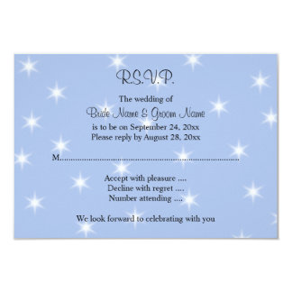 Wedding Design in Light Blue with White Stars. 9 Cm X 13 Cm Invitation Card