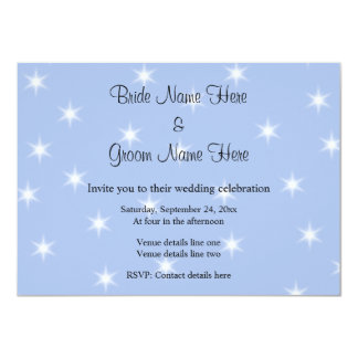 Wedding Design in Light Blue with White Stars. 11 Cm X 16 Cm Invitation Card