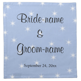 Wedding Design in Light Blue with White Stars. Napkin