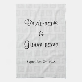Wedding Design in Pale Gray with Squares. Tea Towel