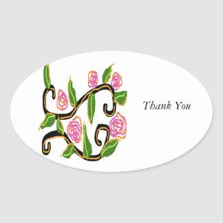 Wedding Design Oval Stickers