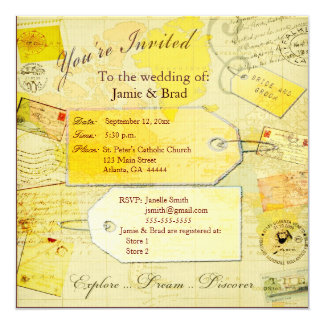 Wedding Destination  Travel  theme 13 Cm X 13 Cm Square Invitation Card