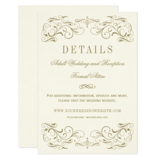Wedding Details Card | Antique Gold