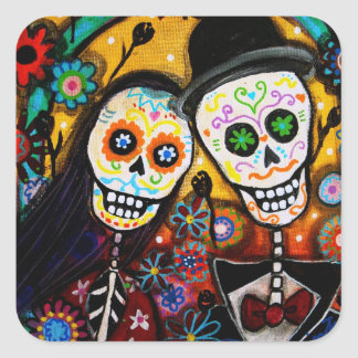 WEDDING DIA DE LOS MUERTOS SQUARE STICKER