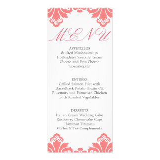 Wedding Dinner Menu Antique Damask Blush 10 Cm X 23 Cm Rack Card