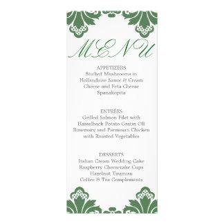Wedding Dinner Menu Antique Damask Dark Green Personalized Rack Card