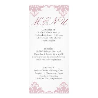 Wedding Dinner Menu Antique Damask Old Rose Customised Rack Card