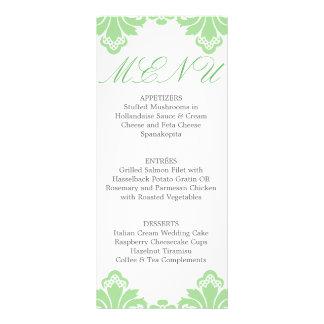 Wedding Dinner Menu Antique Damask Spring Green Rack Cards