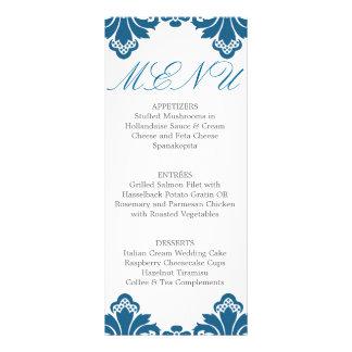 Wedding Dinner Menu Antique Damask Teal Rack Card