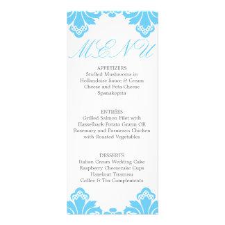 Wedding Dinner Menu Antique Damask Turquoise Personalized Rack Card