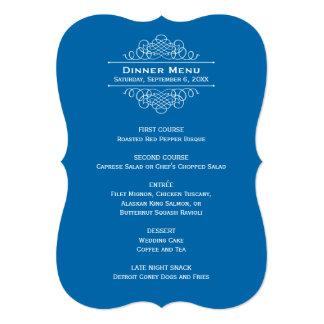 "Wedding Dinner Menu Card   Classic Blue 5"" X 7"" Invitation Card"