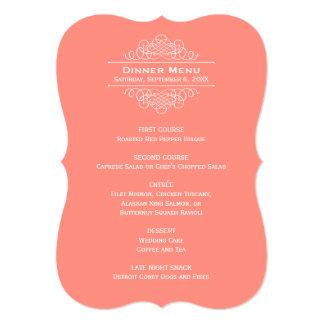 "Wedding Dinner Menu Card   Coral Pink 5"" X 7"" Invitation Card"