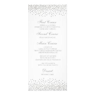 Wedding Dinner Menu Card Elegant Silver Confetti Rack Card Template