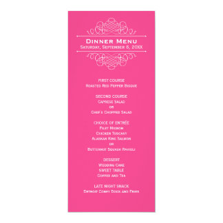 Wedding Dinner Menu Card | Hot Pink