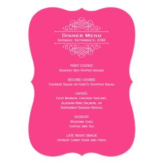 "Wedding Dinner Menu Card   Hot Pink 5"" X 7"" Invitation Card"