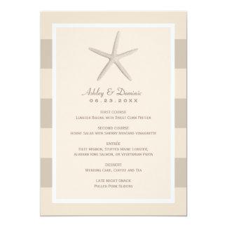 "Wedding Dinner Menu Card | Neutral Starfish 5"" X 7"" Invitation Card"