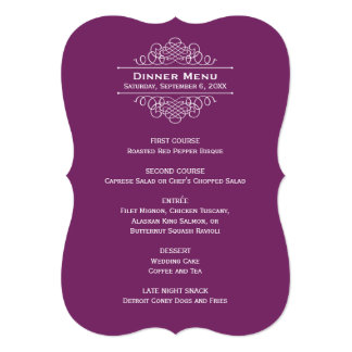 Wedding Dinner Menu Card | Plum Purple