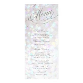Wedding Dinner Menu Card Silver Bokeh Lights