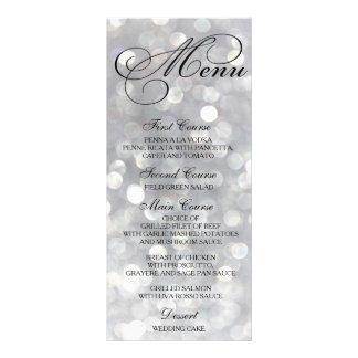 Wedding Dinner Menu Card Silver Bokeh Lights Full Colour Rack Card