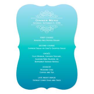 Wedding Dinner Menu Card | Teal Blue Ombre Design
