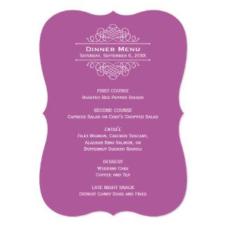 "Wedding Dinner Menu Card   Violet Purple 5"" X 7"" Invitation Card"