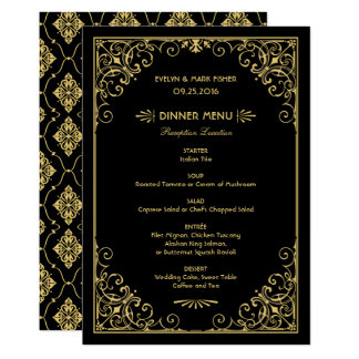 Wedding Dinner Menu Cards | Art Deco Style